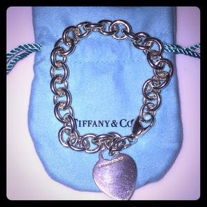 Tiffany & Co link bracelet with heart tag